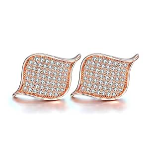 Pandora Style Rose Gold Plated Ear Studs Fashion Jewelry Gift for Wife and Mother