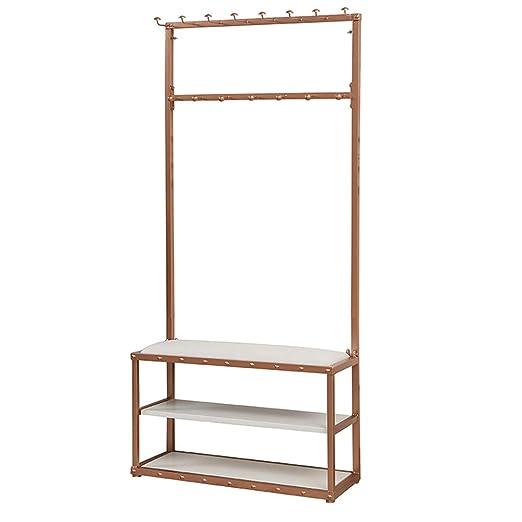 LM-Coat rack Perchero pie Perchero, con cojín 3 estantes ...