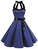 Dresstells® Women's Vintage Rockabilly Halter Polka Dot Audrey 50s Retro Bridesmaid Cocktail Party