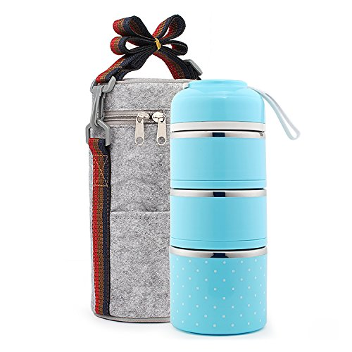 Maiyuansu Bento Lunch Box Stainless Steel Leakproof Food Storage Containers with Insulated Lunch Bag for Adult and Office (Blue) by Maiyuansu