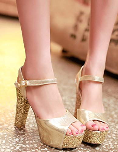 Aisun Women's Stylish Peep Toe Ankle Strap Sandals With Platform Gold JCuOKCCB
