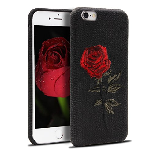 Embroidered Case Phone (iPhone 7 Case, RQJ Embroidery 1997 case,Rose Flower iPhone 3D Floral Case for iPhone 7 (Black))