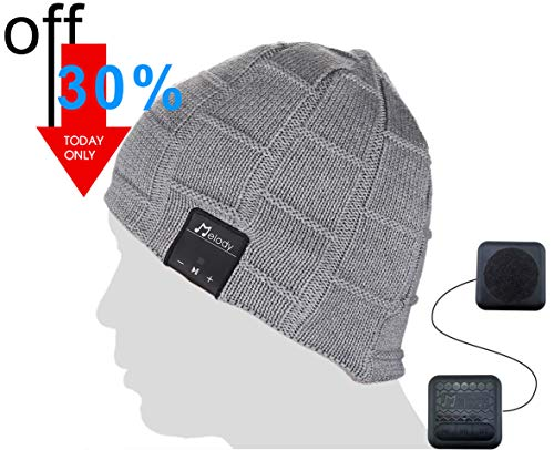 Bluetooth Beanie Music Hat, Coeuspow Smart 4.1 Wireless Music Beanie Hat, Soft Warm Beanie Hat with Built-in Microphone and HD Stereo, Hand-Free Calling & Listen to Music Outdoor in Winter (Grey) (Active 5 Panel Hat)