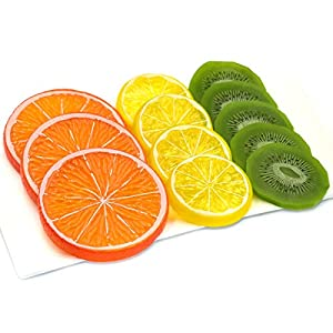 Hagao Highly Simulation Fake Slice Artificial Fruit Model Home Party Decoration Kiwifruit+Lemon+Orange-12 pcs 69