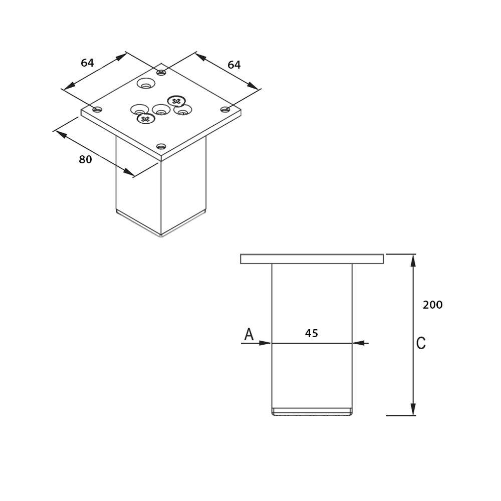 Sossai Aluminium Patas para mueblesExklusiv Color: cromo Perfil cuadrado: 45 x 45 mm Altura 150mm E4MF 4 piezas Tornillos incluidos