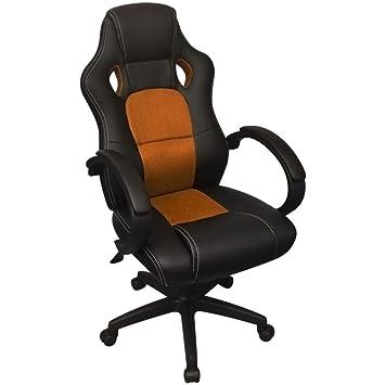 Daonanba Chaise De Bureau Luxe Fauteuil Confortable Orange