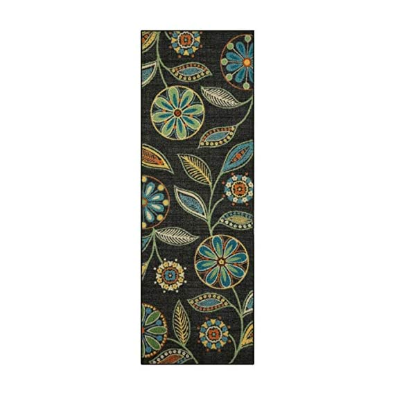 Maples Rugs Reggie Floral Runner Rug Non Slip Hallway Entry Carpet [Made in USA], Multi, 2 x 6 - 2 x 6 Hallway Runner Rug - Features a Modern Twist on a bold floral pattern. Vibrant hues of multi-colors on a dark background creates a high contrast, eye-catching artwork on the floor Timeless Design with 100% Nylon Pile for Added Durability and Fade Resistance 0.44 Inch Pile Height, Low Profile to be Placed in Any Setting. Easy Care and Machine Washable - runner-rugs, entryway-furniture-decor, entryway-laundry-room - 51ygXUxcVfL. SS570  -