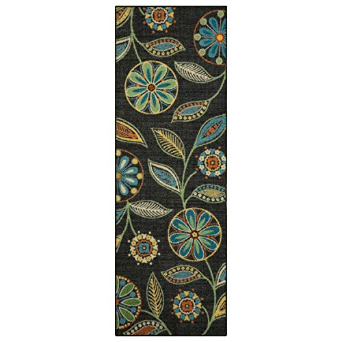 Maples Rugs Reggie Floral Runner Rug Non Slip Hallway Entry Carpet [Made in USA]