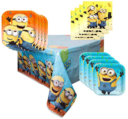 Minion Party Supplies Tableware Bundle Pack for 16 Guests - Includes 16 Dinner Plates, 16 Dessert Plates, 16 Dinner Napkins, and 1 Tablecover]()