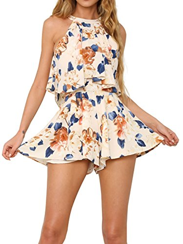 Sinplee Apparel Women's Summer Chiffon Floral Print Halter Neck Playsuit 2 Piece Short Jumpsuit