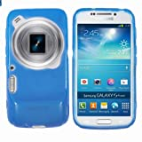 Yakamoz Slim Fit Flexible Gel Silicone TPU Case Cover for Samsung Galaxy S4 Zoom C1010 with Screen Protector (Blue)