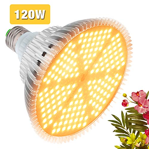 120W LED Grow Light Bulb, Sunlike Full Spectrum Plant Light Bulb 180 LEDs Grow Lamp for Indoor Plants Vegetables and Seedlings, E26/E27 Base Grow Light for Greenhouse, Organic Soil, Hydroponics