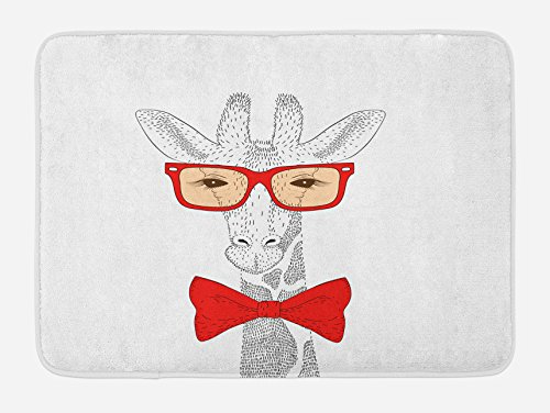 Lunarable Giraffe Bath Mat, Cute Animal with Bow Tie Glasses Dotted Pattern Hipster Cartoon Image, Plush Bathroom Decor Mat with Non Slip Backing, 29.5 W X 17.5 W Inches, Vermilion Peach Black by Lunarable