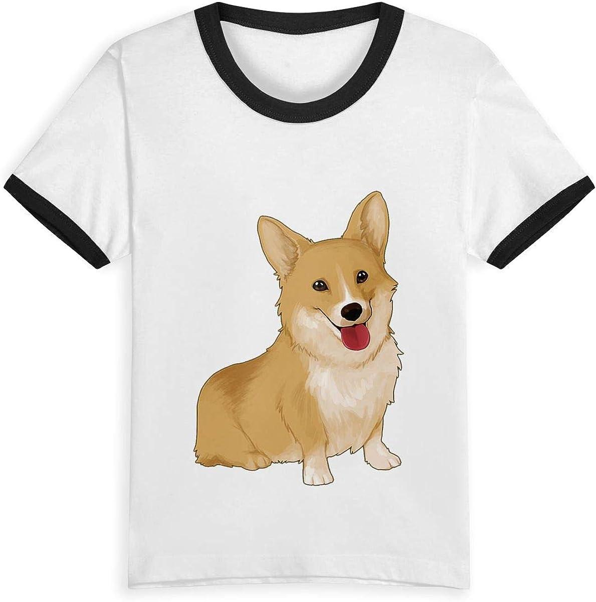 Corgi de 2 a 6 años con Estampado de Dibujos Animados, Camiseta de Verano para niños y niñas, Camisetas de Moda de algodón para niños pequeños, Color de Contraste Negro Negro (3