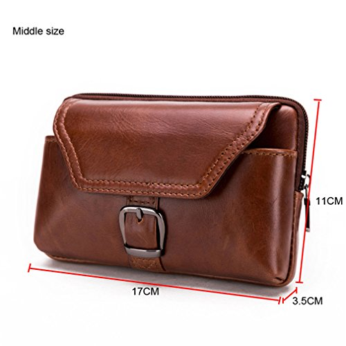 KUAISUF Genuine Leather Cell Phone Bag Mobile Phone Case Cover Cowhide Men's Waist Belt Pack Hip Bum Wallet Purse For Cross middle by KUAISUF