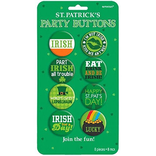 Amscan 398109 St. Patrick's Party Buttons Set of 8, 1 1/2
