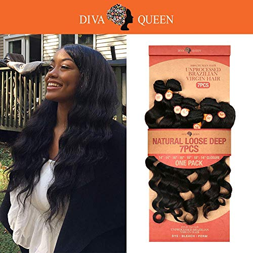 Dive Bundle - Diva Queen 100% Virgin Human Hair Unprocessed Brazilian Weave 7A Natural Loose Deep 7Pcs (16