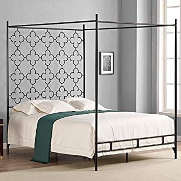 metal canopy bed frame twin full queen king adult kids princess bedroom furniture black - Iron Canopy Bed Frame