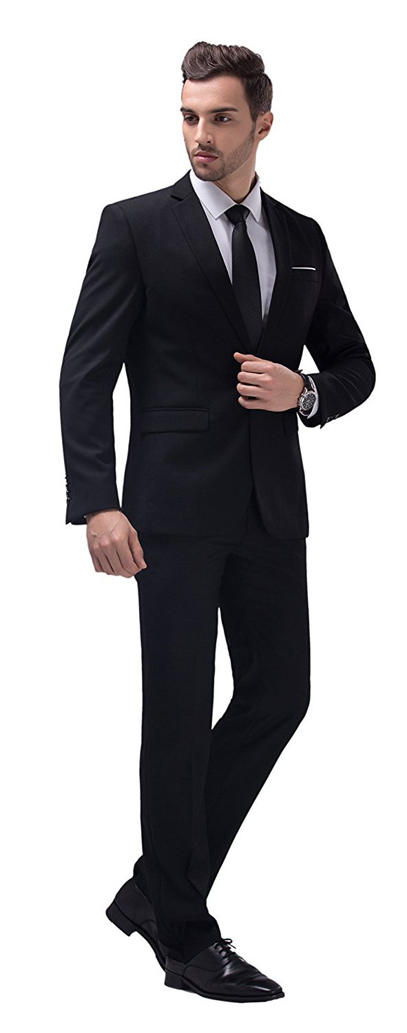 WULFUL Men's Suit One Button Slim Fit 2 Piece Suit for Men Casual/Formal/Wedding Party/Tuxedo by WULFUL (Image #4)