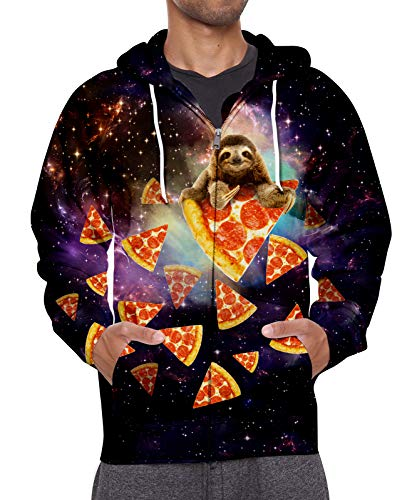 - Leapparel 3D Digital Pizza Sloth Hoodie Colourful Galaxy Printed Pullover Jackets with Pockets and Front Zip for Boy/Girl Small