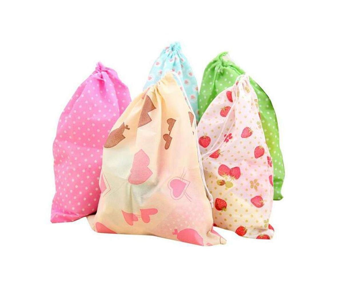 Set of 10 Non Woven Fabric Dustproof Drawstring Dress Shoes Storage Bag Portable Reusable Travelling Rope Thickening Printing Pouches Case Foldable Breathable Tote Bags Color Random