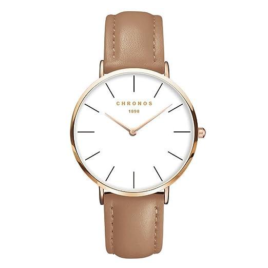 Moda Mujer Hombres Cuarzo reloj de pulsera Correa de cuero PU Señoras Chicas Reloj de vestir, Camello: Amazon.es: Relojes
