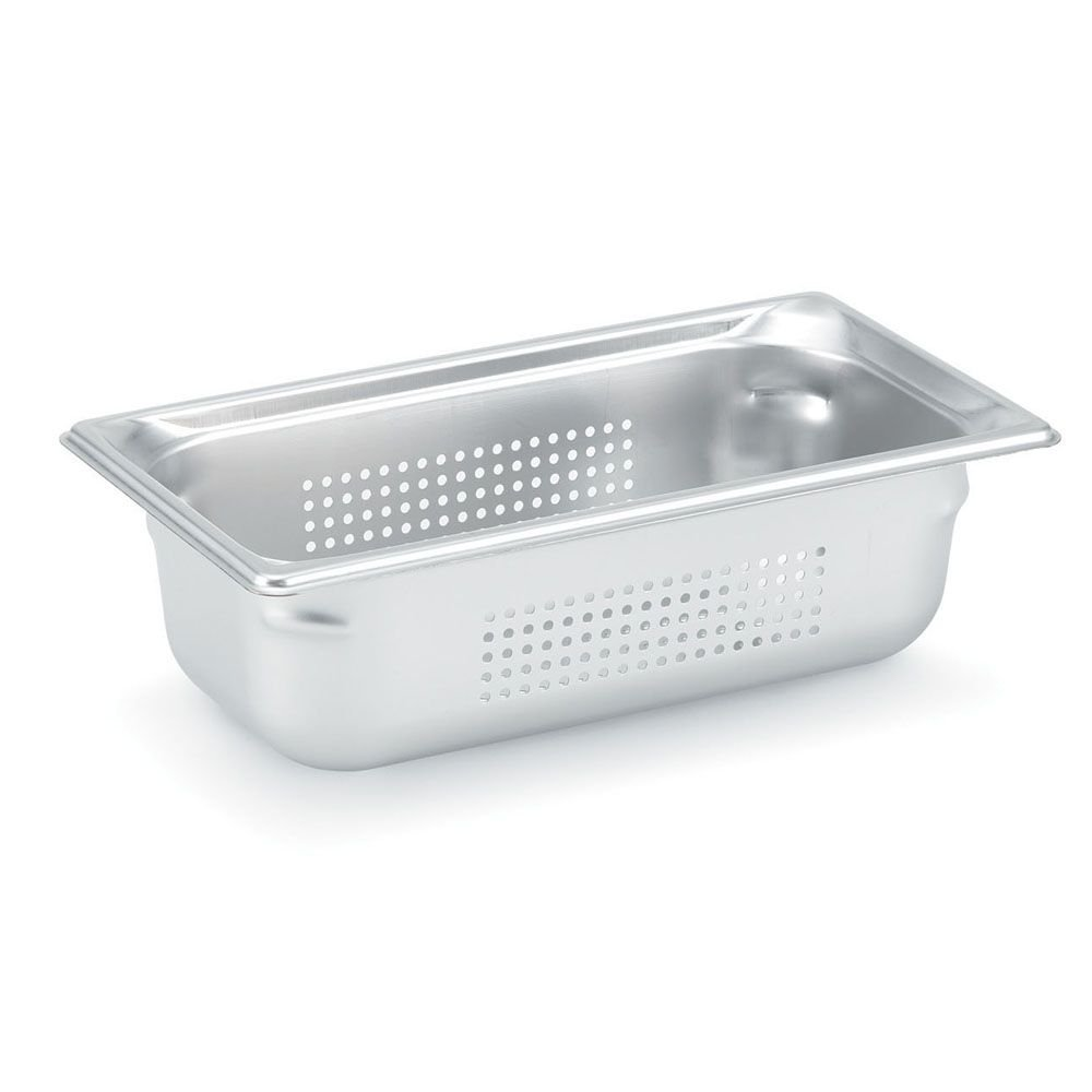 Vollrath Super Pan 3 90343 1/3 Size Anti-Jam Stainless Steel Perforated Steam Table Pan, 4'' Deep