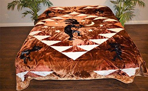 (V's Signature Collection Kokopelli Native Biege Luxury Super Soft Medium Weight Queen Size Mink Blanket 1ply )