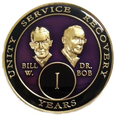 15 Year Purple Bill & Bob Tri-Plate Alcoholics Anonymous Medallion- AA Sobriety Chip