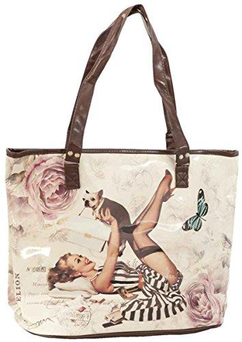 Clayre & Eef BAG175borsa Shopper plastica signora cane farfalla circa 39x 34cm
