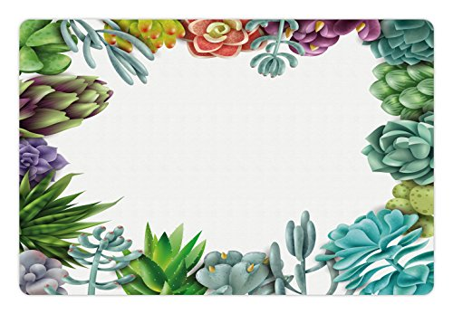 Lunarable Succulent Pet Mat for Food and Water, Frame with Various Succulent Plants Collection Vivid Garden Tropical Nature Image, Rectangle Non-Slip Rubber Mat for Dogs and Cats, (Garden Images Collection)