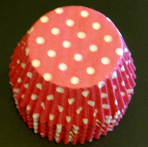 (50 Hot Pink with White Poka Dots Cupcake Liners Baking Cups STANDARD SIZE)