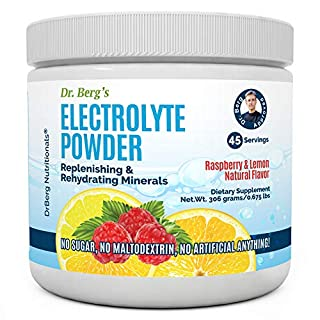 Dr. Berg's Original Electrolyte Powder, High Energy, Replenish & Rejuvenate Your Cells, 45 Servings, NO Maltodextrin or Sugar, No Ingredients from China, Amazing Raspberry Lemon Flavor (1 Pack)