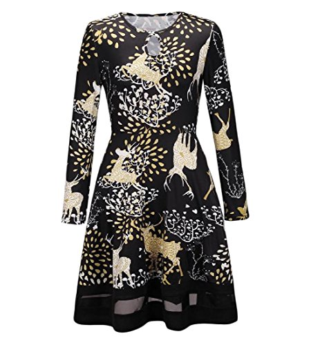 s Printing Women Comfy 1 Club Casual Christmas Stitch Gauze Dresses 5gqFxwSnF