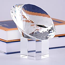 Clear Crystal Gem Paperweight on Stand