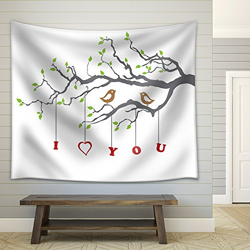 Birds in Love on a Tree Branch Fabric Wall