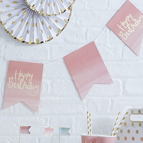 Ginger Ray PM-913 Pick And Mix Foiled & Ombre Pink Happy Birthday Party Bunting, Gold, 3 Metre