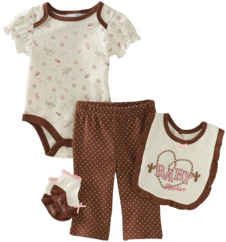 Vitamins Baby-girls Newborn Rodeo 4 Piece Creeper Pant Set