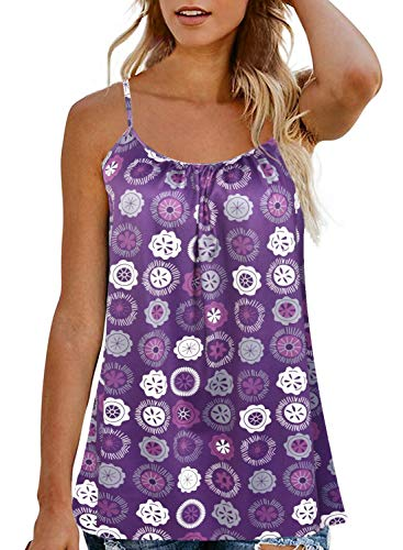 Plus Size Tank Top for Women Spaghetti Strap Cami Tunic Top (Purple Flower, M)