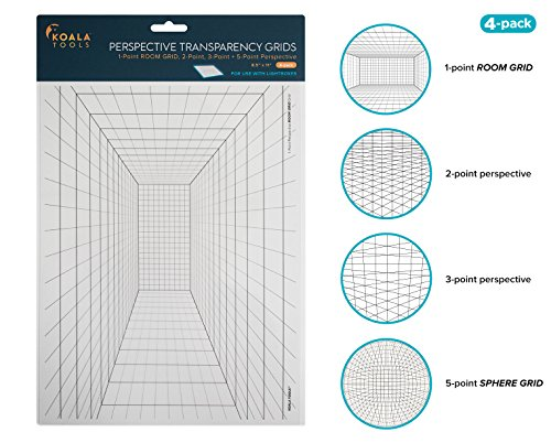 Koala Tools | Perspective Grid Transparency Sheets (Variety Pack of 4) - 8.5