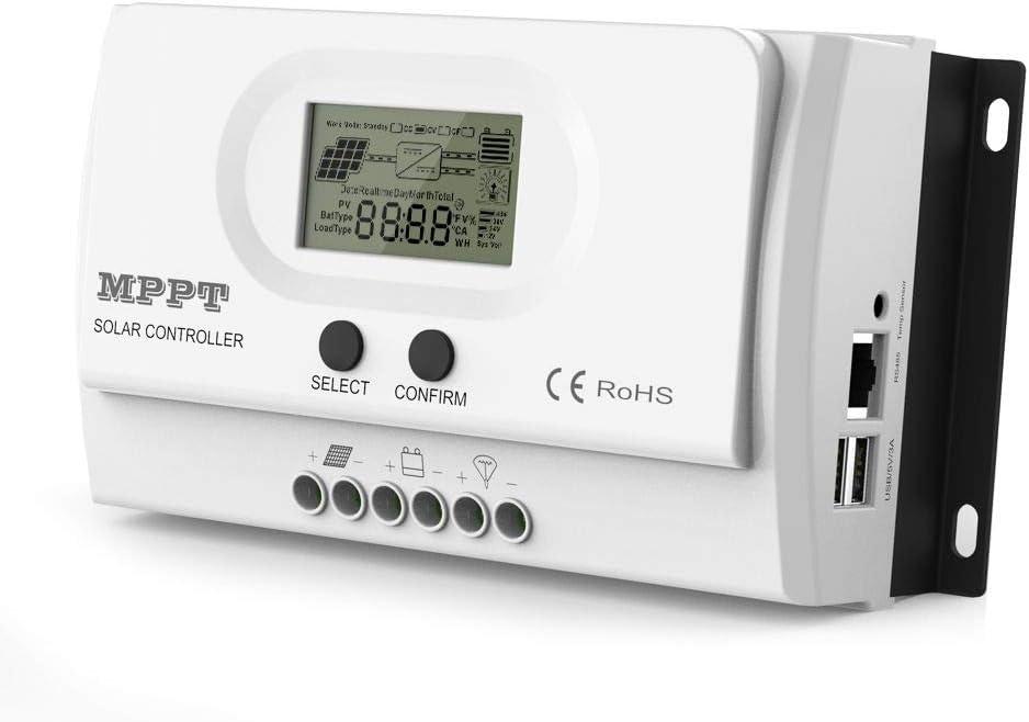 ALLPOWERS Regulador de Carga, 20A 12V-24V Controlador de Carga de Inteligente MPPT Panel Solar, Protección contra Sobrecarga, Compensación Automática de Temperatura