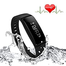 Bluetooth Smart Bracelet Watch Wristband Sports Blood pressure Heart Rate Monitor Fitness Tracker Pedometer Step Counter Tracking Calorie Health Sleep Monitor OLED Display for Android IOS (Black)