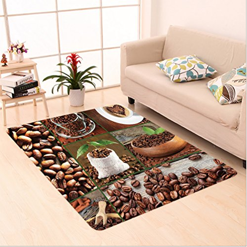 Nalahome Custom carpet own Collage of Coffee Beans in Cups and Bags with Green Leaves on Wooden Table Photo Brown Green area rugs for Living Dining Room Bedroom Hallway Office Carpet (2' X 10')
