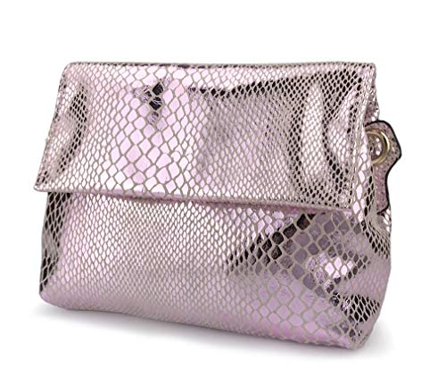 Snake Pink Handbag - Shining Evening Clutch Women Cross body Bag Snake Print Purse (Pink)