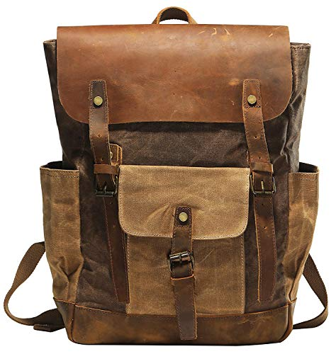 Vintage Canvas Waxed Leather Backpack w/Laptop Storage (Large) High School, College, Travel Bag | Canvas and Cotton Craftsmanship | All-Purpose Rucksack for Men, Women, Kids - Backpack Tech Leather