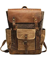 Vintage Canvas Waxed Leather Backpack w/Laptop Storage (Large) High School, College
