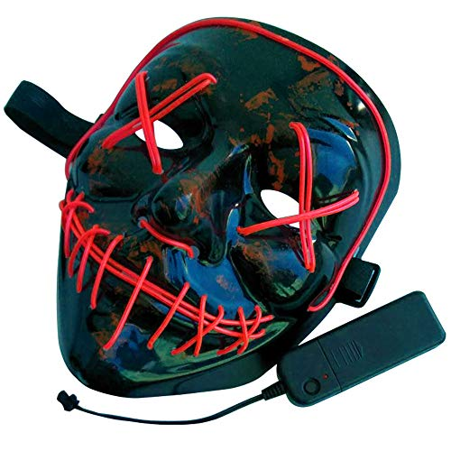 Amfor Halloween LED Light Mask, Scary Cosplay Glowing Mask for Halloween Costume Festival Parties Supplies (Red)