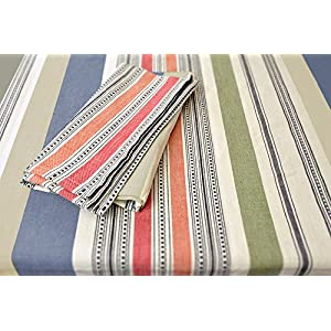 """DII 100% Cotton, Machine Washable, Dinner, Summer & Picnic Tablecloth, 60 x 84"""", Warm Stripe, Seats 6 to 8 People"""