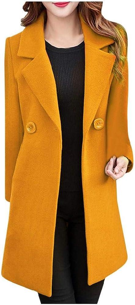 Abrigo de Invierno para Mujer Abrigo de Lana de Solapa de Invierno Trench Otoño Abrigo de Manga Larga Outwear