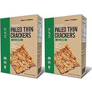 Julian Bakery Paleo Thin Crackers | Salt & Pepper | USDA Organic | Gluten-Free | Grain-Free | GMO Free | Low Carb | 2 Pack